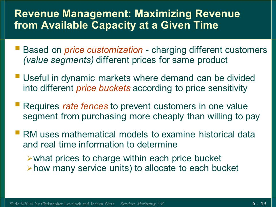 Revenue Management: Maximizing Revenue from Available Capacity at a Given Time