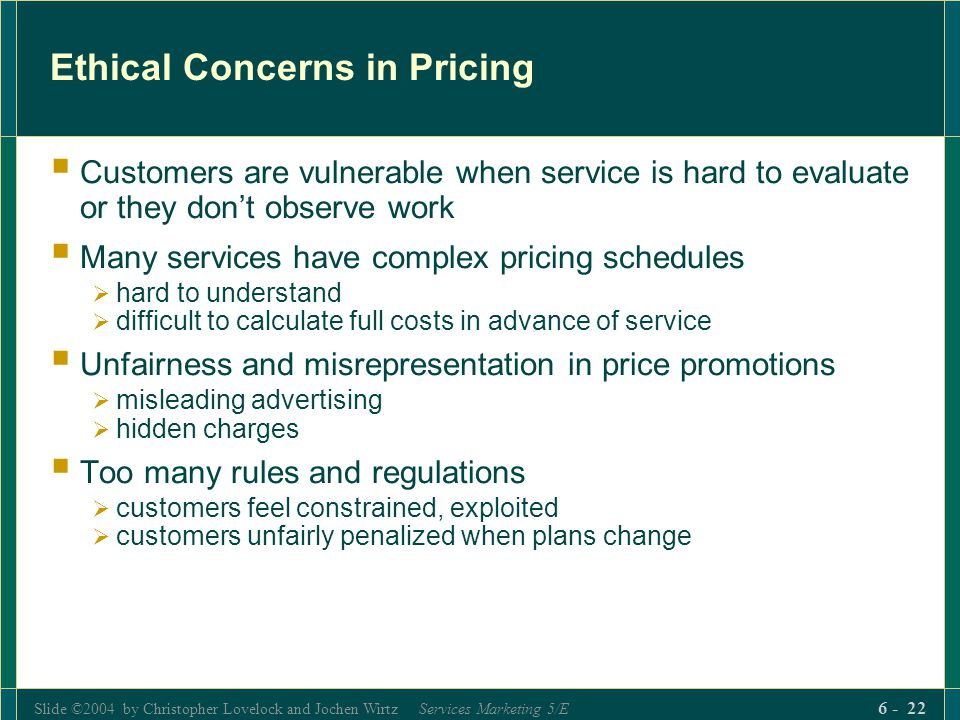 Ethical Concerns in Pricing