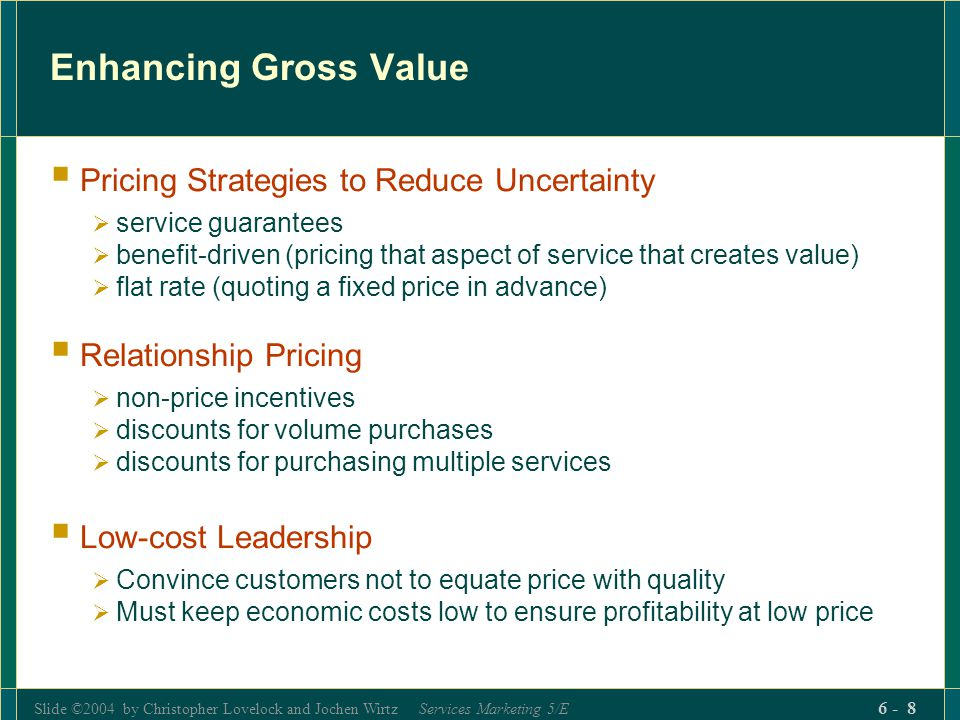 Enhancing Gross Value Pricing Strategies to Reduce Uncertainty