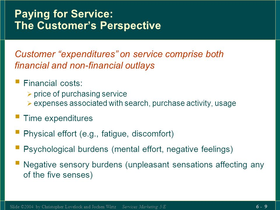 Paying for Service: The Customer's Perspective