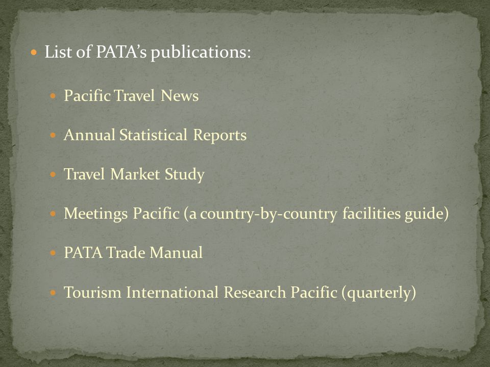 List of PATA's publications: