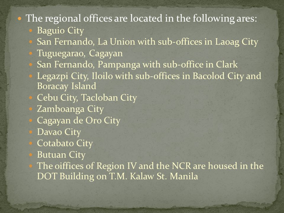 The regional offices are located in the following ares: