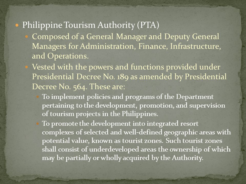 Philippine Tourism Authority (PTA)