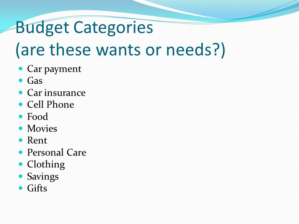 Budget Categories (are these wants or needs )