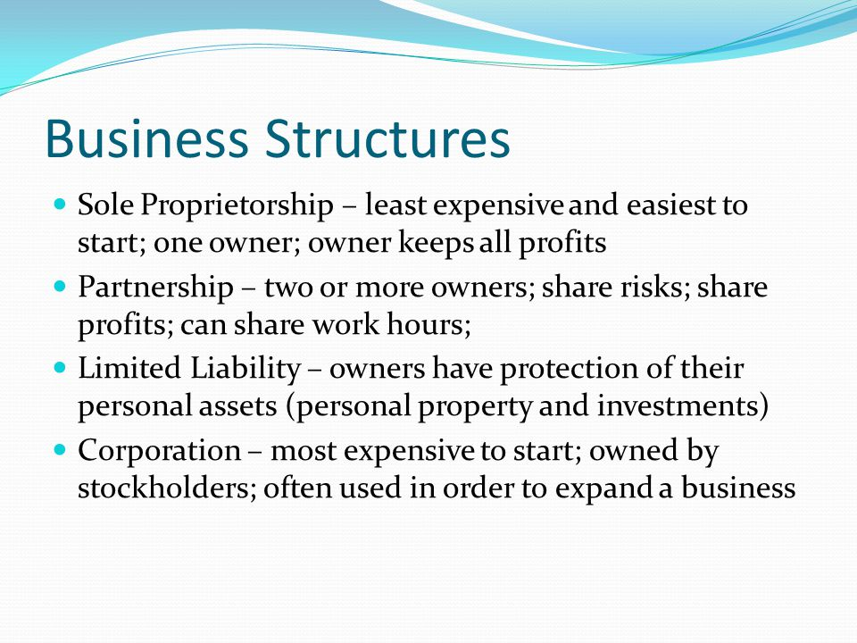 Business Structures Sole Proprietorship – least expensive and easiest to start; one owner; owner keeps all profits.