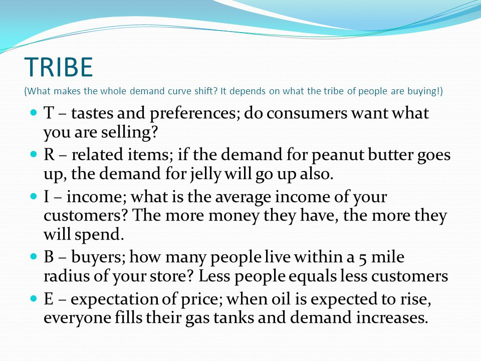 TRIBE (What makes the whole demand curve shift