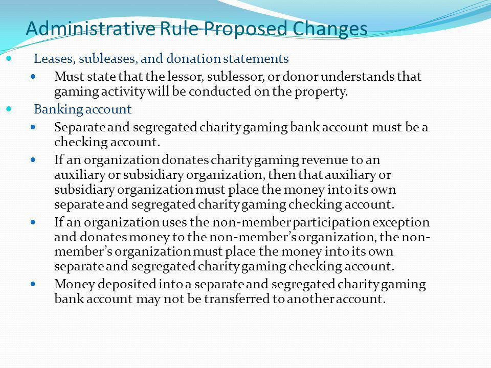 Administrative Rule Proposed Changes