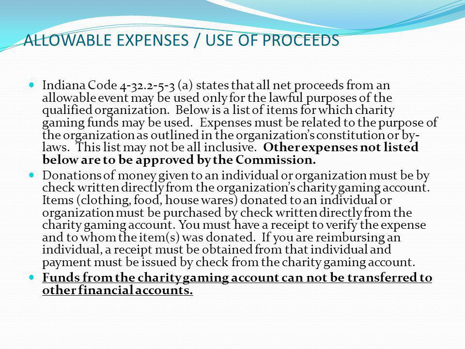 ALLOWABLE EXPENSES / USE OF PROCEEDS