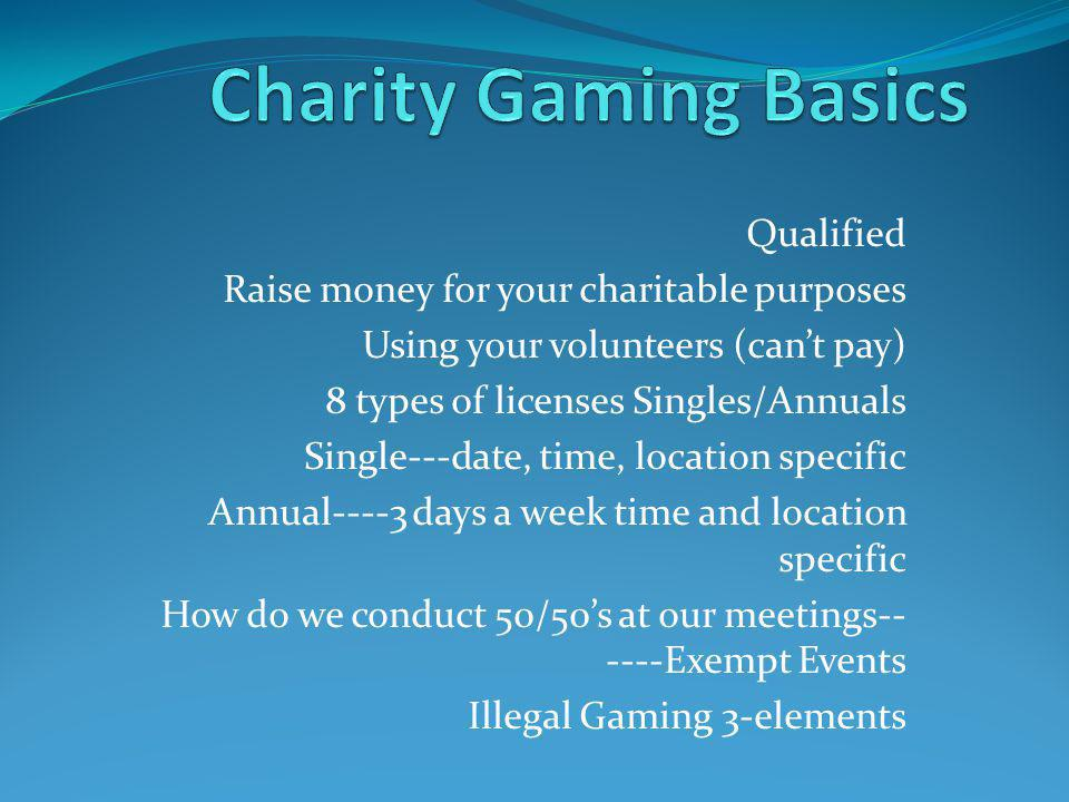 Charity Gaming Basics Qualified