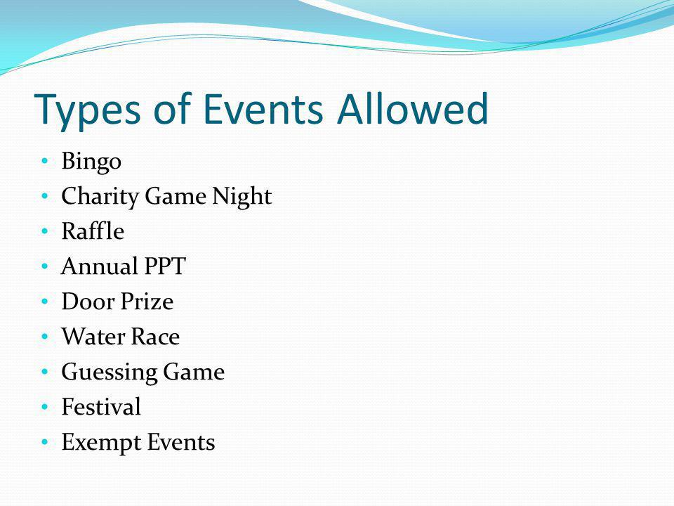 Types of Events Allowed