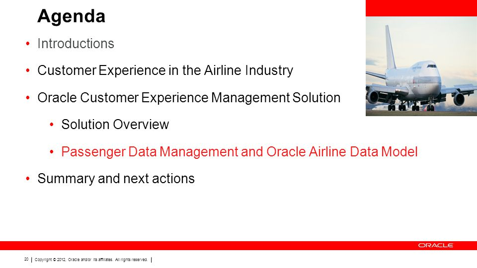 Agenda Introductions Customer Experience in the Airline Industry