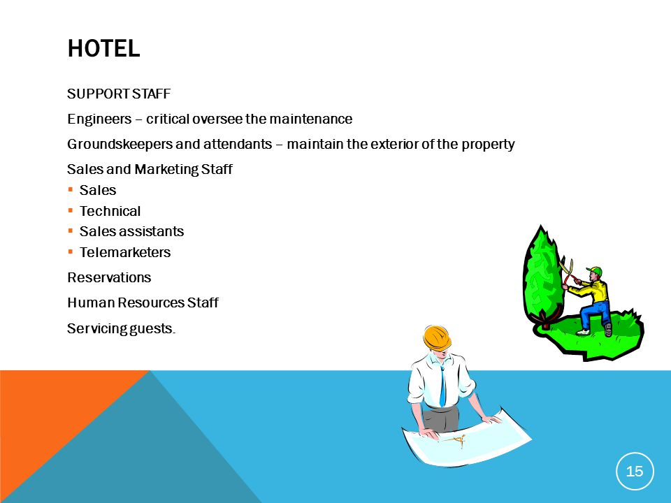 Hotel SUPPORT STAFF Engineers – critical oversee the maintenance