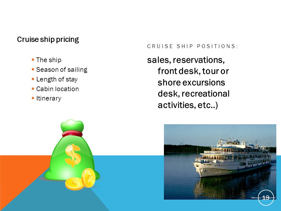 Cruise ship pricing Cruise Ship Positions: The ship. Season of sailing. Length of stay. Cabin location.
