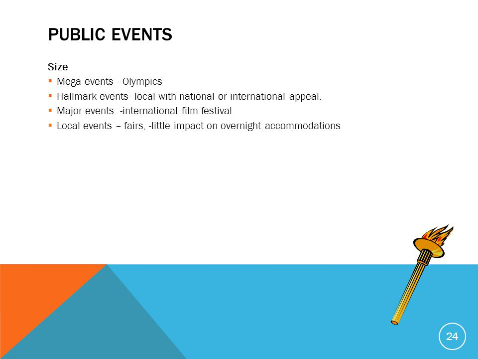 Public Events Size Mega events –Olympics