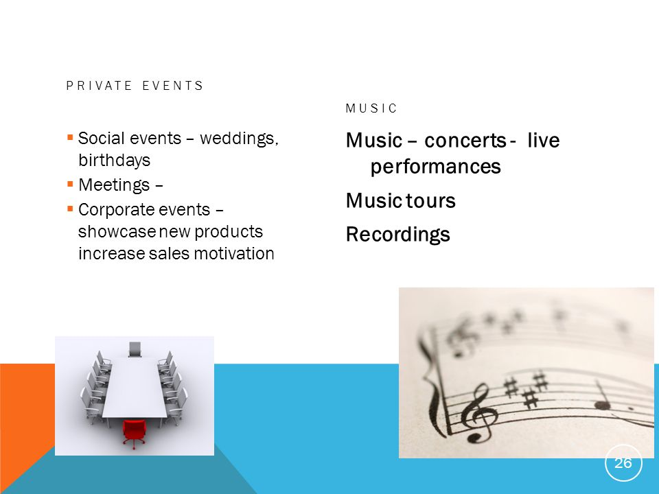 Music – concerts - live performances Music tours Recordings