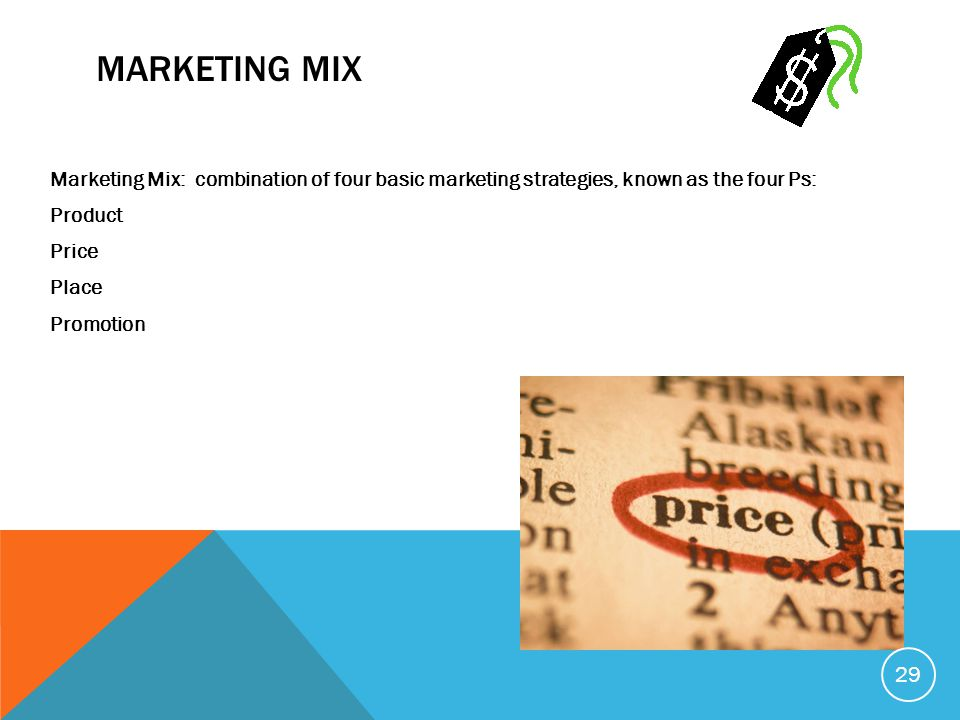 Marketing Mix Marketing Mix: combination of four basic marketing strategies, known as the four Ps: Product Price Place Promotion
