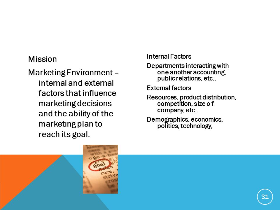 Mission Marketing Environment – internal and external factors that influence marketing decisions and the ability of the marketing plan to reach its goal.