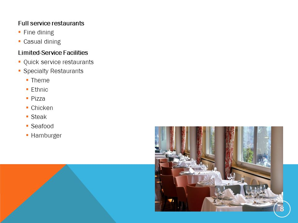 Full service restaurants