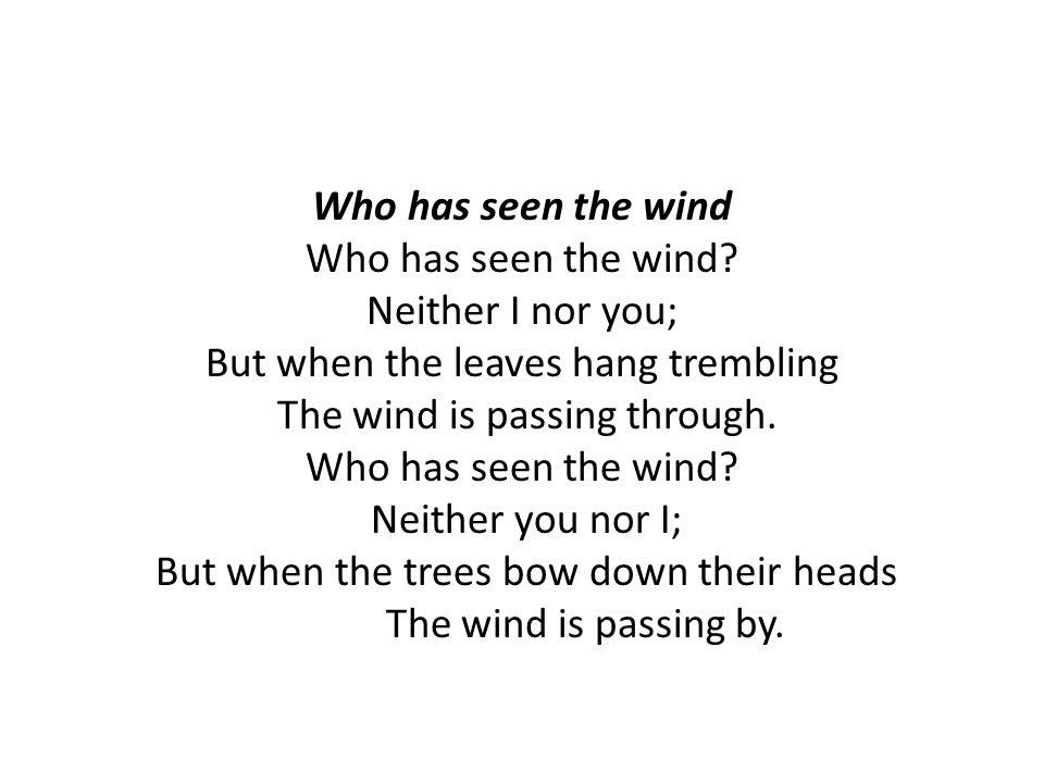 Who has seen the wind Who has seen the wind