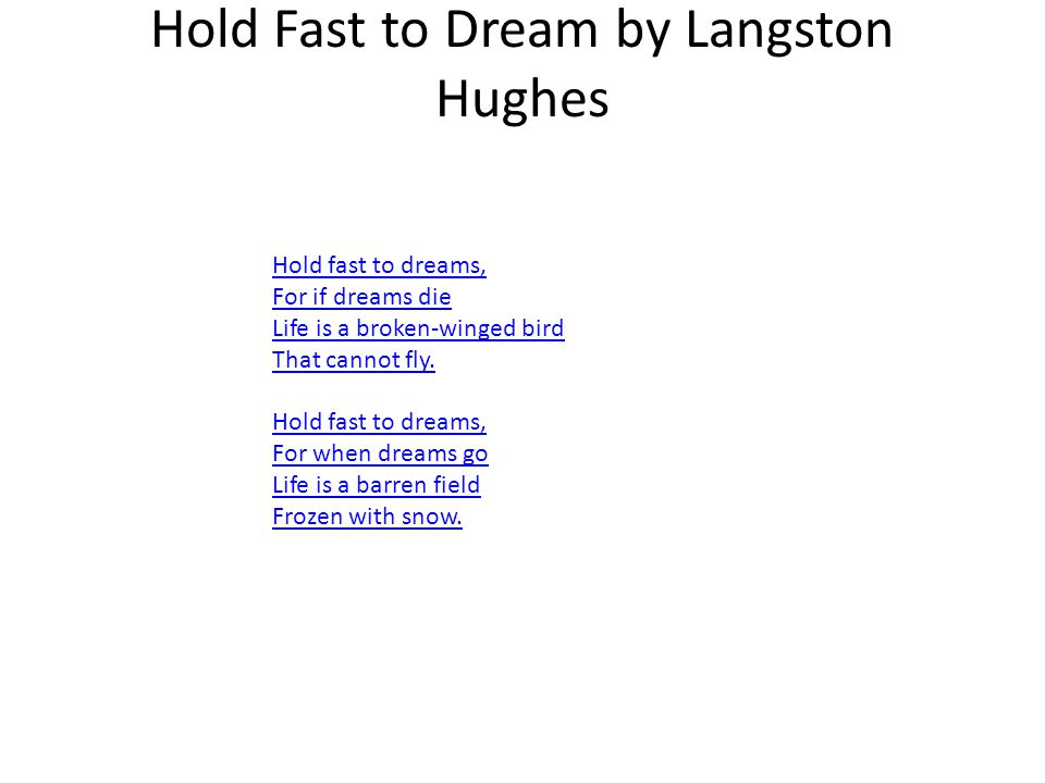 Hold Fast to Dream by Langston Hughes