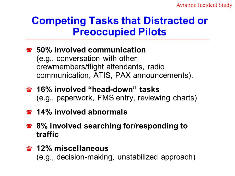 Competing Tasks that Distracted or Preoccupied Pilots