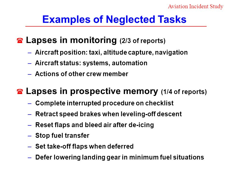 Examples of Neglected Tasks