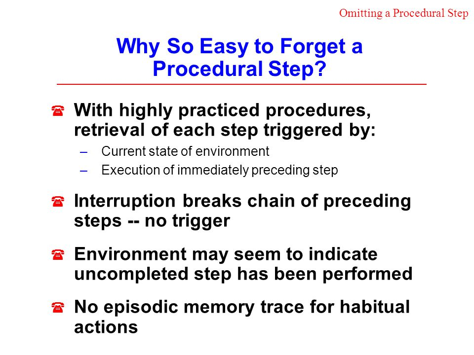 Why So Easy to Forget a Procedural Step