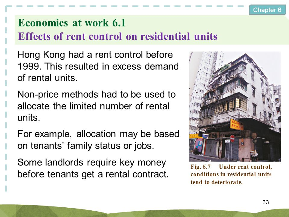 Economics at work 6.1 Effects of rent control on residential units