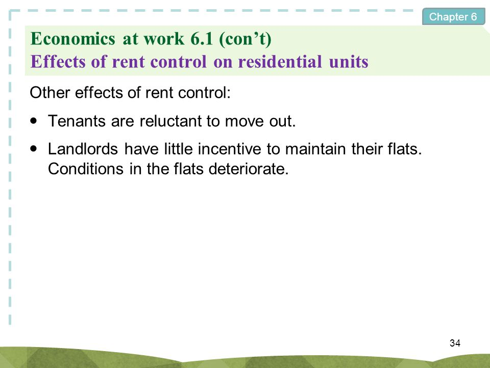 Economics at work 6.1 (con't) Effects of rent control on residential units