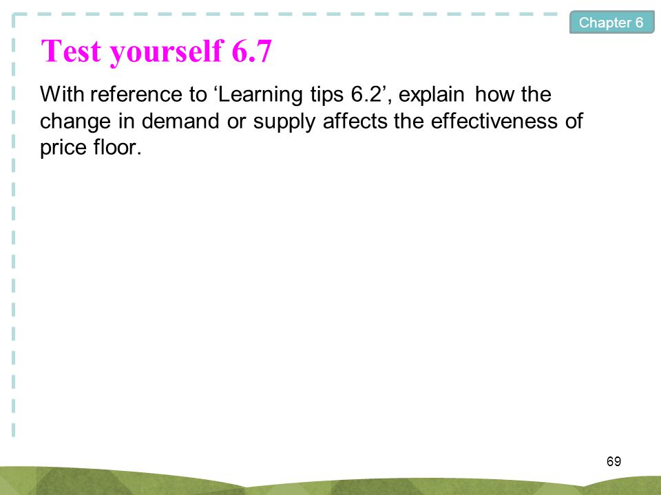 Test yourself 6.7 With reference to 'Learning tips 6.2', explain how the change in demand or supply affects the effectiveness of price floor.