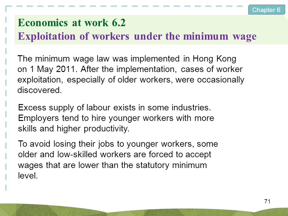 Economics at work 6.2 Exploitation of workers under the minimum wage