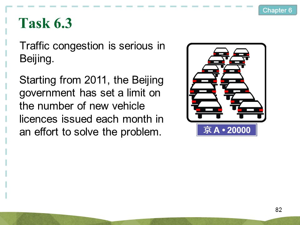 Task 6.3 Traffic congestion is serious in Beijing.