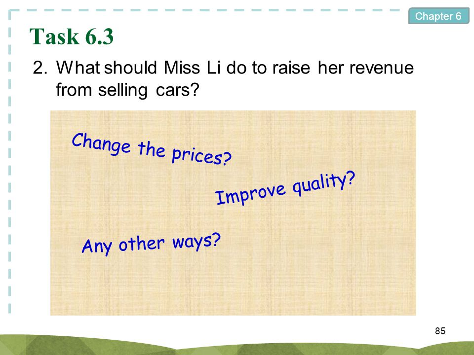 Task 6.3 2. What should Miss Li do to raise her revenue from selling cars Change the prices Improve quality