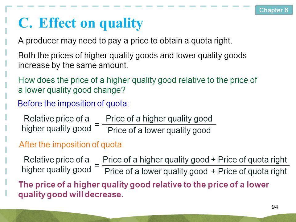 C. Effect on quality A producer may need to pay a price to obtain a quota right.