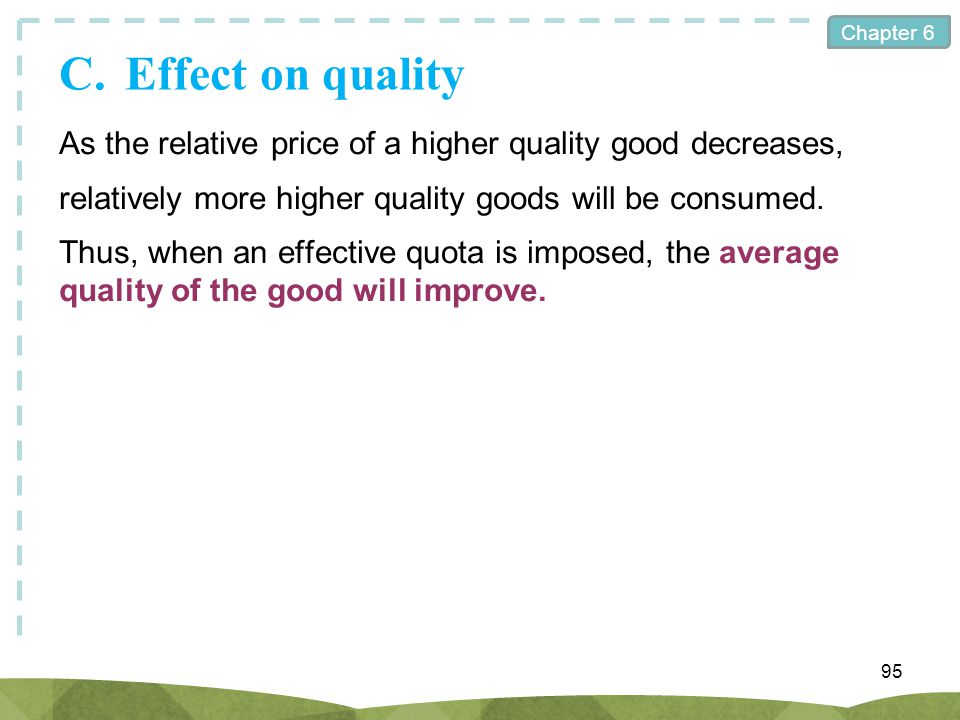 C. Effect on quality As the relative price of a higher quality good decreases, relatively more higher quality goods will be consumed.