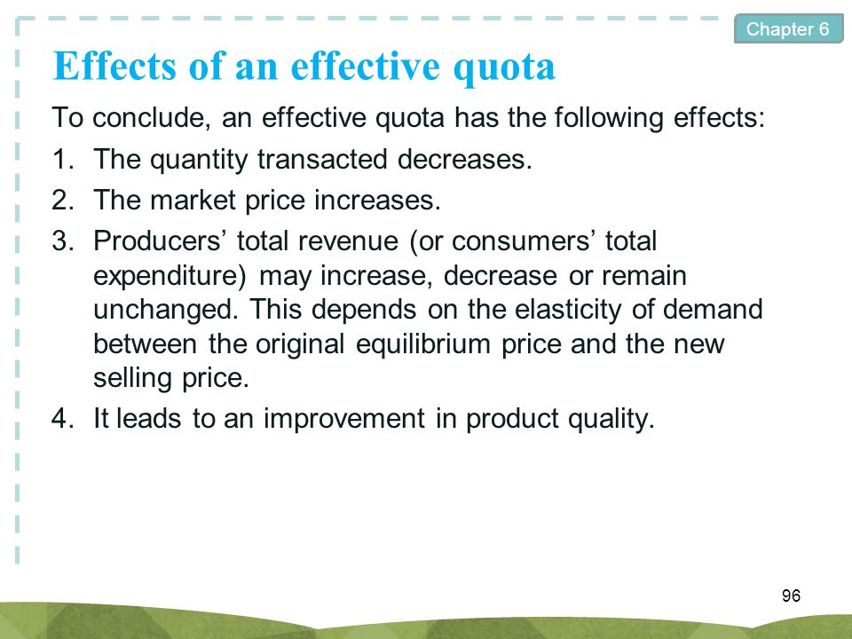 Effects of an effective quota