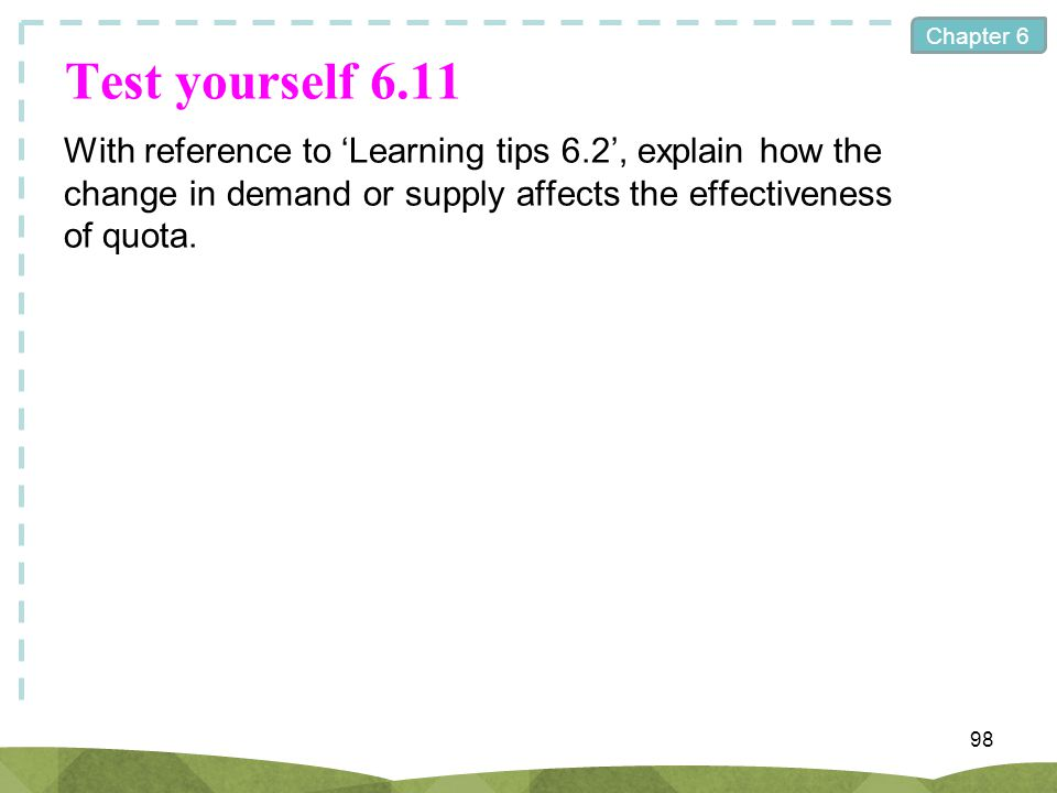Test yourself 6.11 With reference to 'Learning tips 6.2', explain how the change in demand or supply affects the effectiveness of quota.