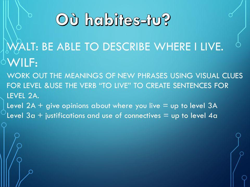Où habites-tu WILF: WALT: BE ABLE TO DESCRIBE WHERE I LIVE.