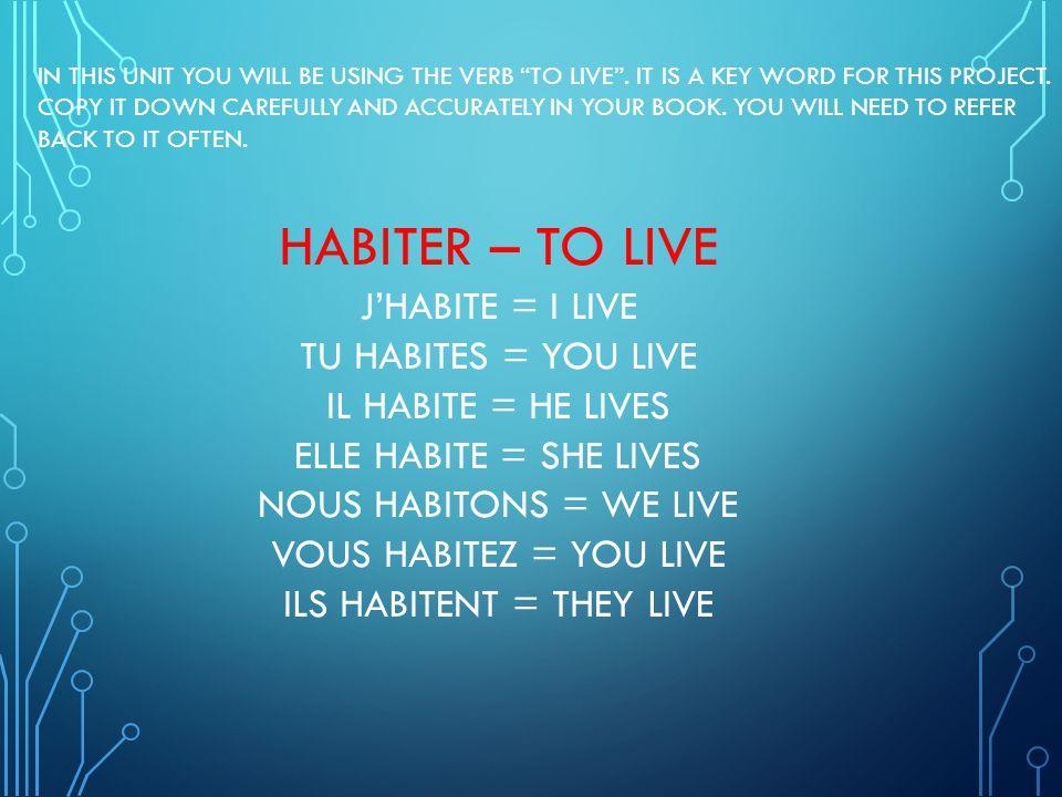 ILS HABITENT = THEY LIVE