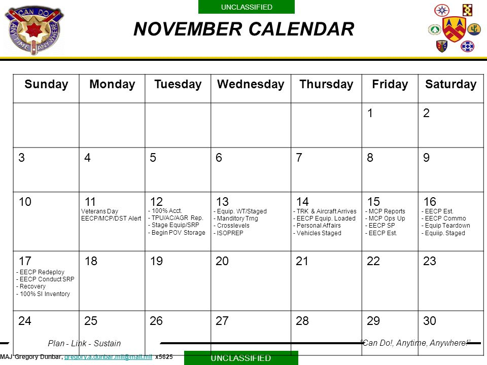 NOVEMBER CALENDAR Sunday Monday Tuesday Wednesday Thursday Friday