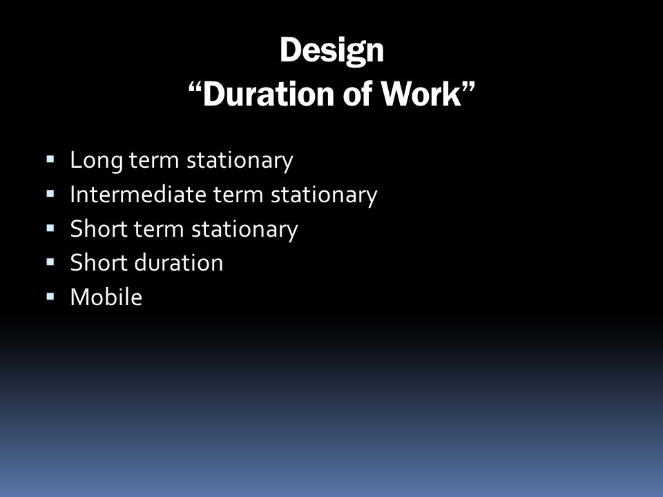 Design Duration of Work