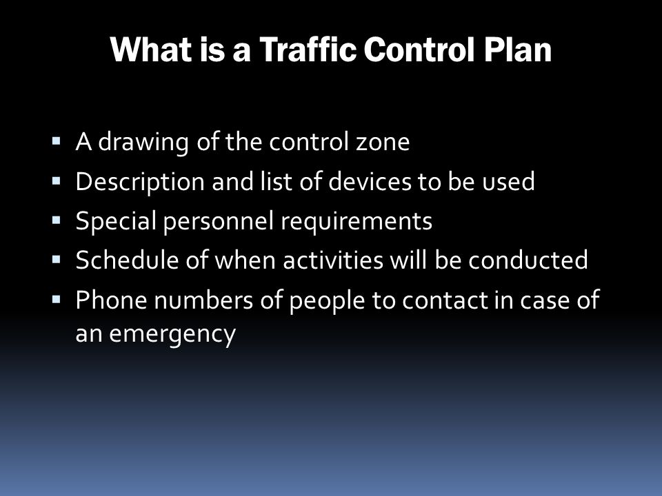 What is a Traffic Control Plan