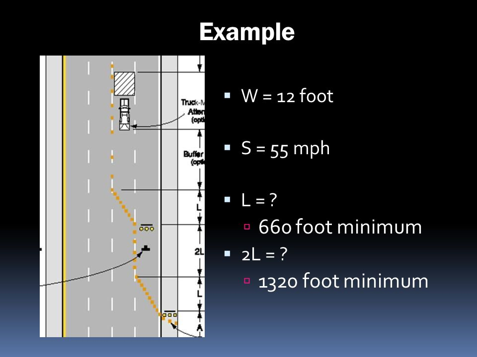 Example 660 foot minimum 1320 foot minimum W = 12 foot S = 55 mph