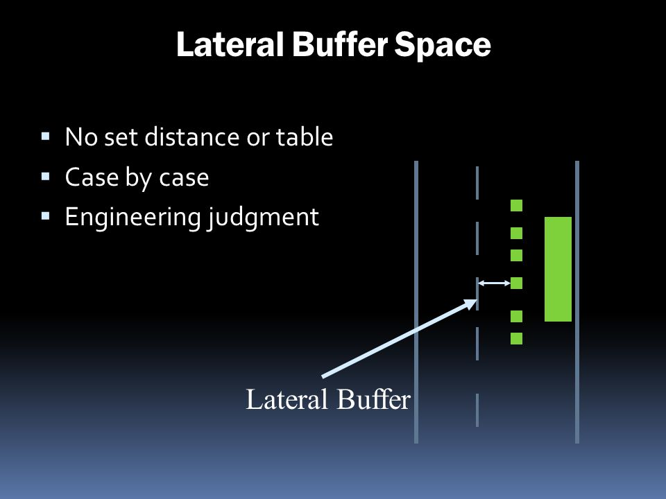 Lateral Buffer Space Lateral Buffer No set distance or table