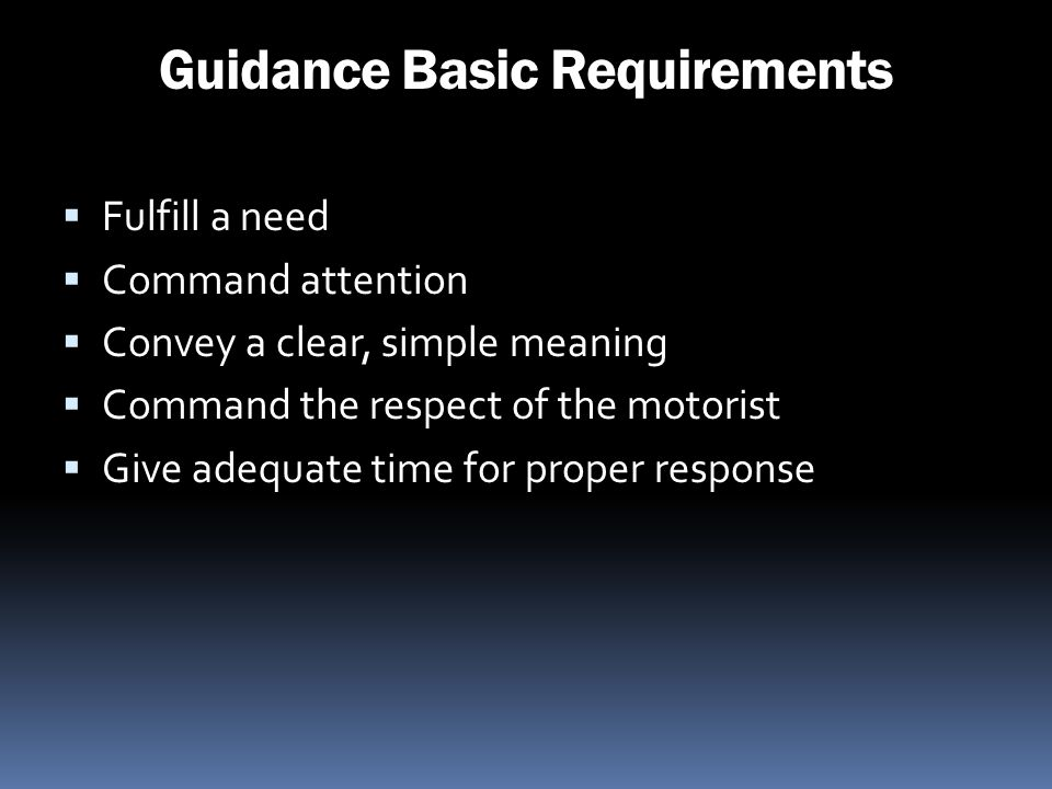 Guidance Basic Requirements