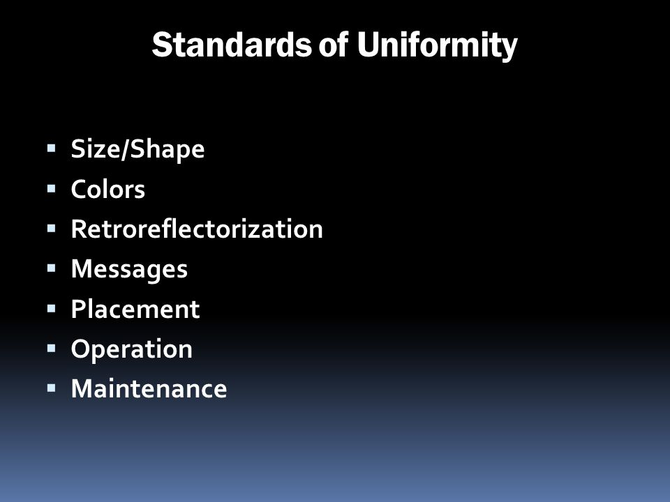 Standards of Uniformity