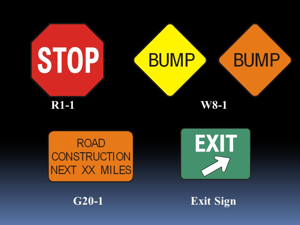 R1-1 W8-1 G20-1 Exit Sign 188