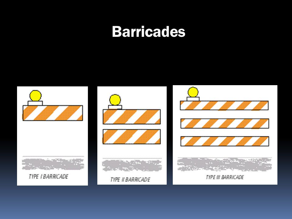 Barricades Type I, Type II, Direction Indicator, Type III, and Vertical Panel barricades are available.