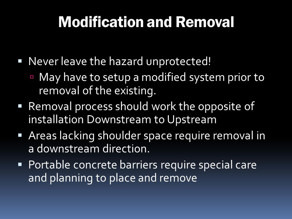 Modification and Removal