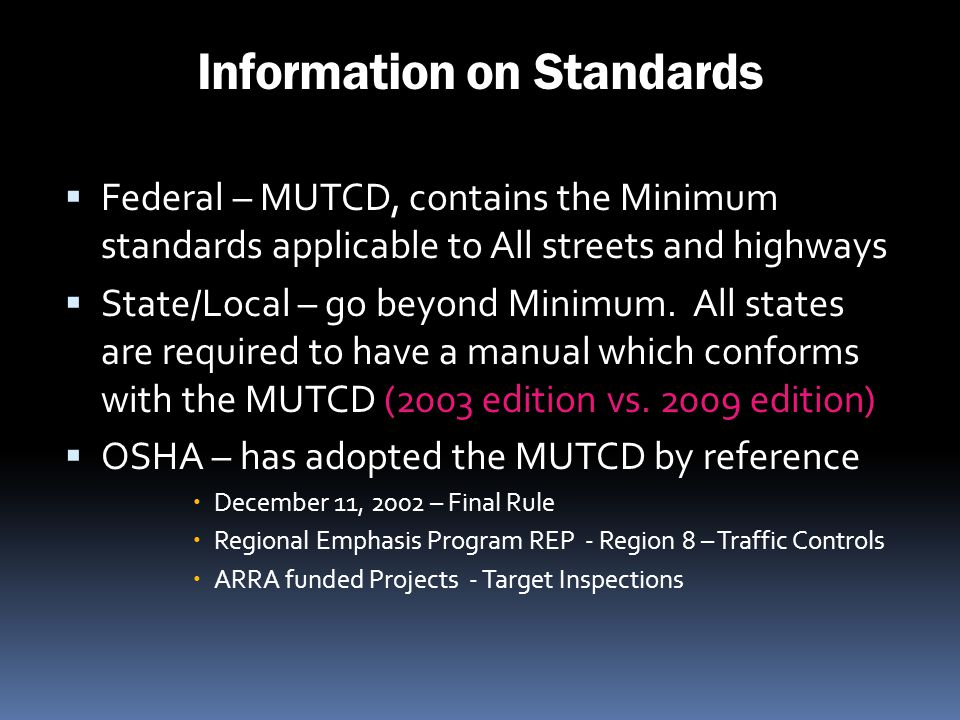 Information on Standards